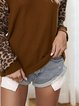 Leopard Patched Print Off-Shoulder O-neck Long Sleeve T-Shirts