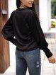 Black Cotton-Blend V Neck Long Sleeve Shirts & Tops