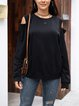 Black Cotton-Blend Plain Paneled Long Sleeve Shirts & Tops