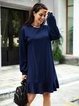 Blue Plain Long Sleeve Crew Neck Dresses
