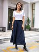 Blue Casual Plain Paneled Skirts