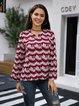 Wine Red Casual Geometric Shirts & Tops