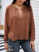Brown Cotton-Blend Long Sleeve V Neck Shirts & Tops