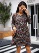 Black Casual Floral A-Line Cotton-Blend Dresses