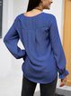Blue Crew Neck Long Sleeve Cotton-Blend Shirts & Tops