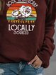 Wine Red Shift Long Sleeve Letter Cotton-Blend Shirts & Tops