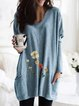 Vintage Long Sleeve V Neck Floral Printed Plus Size Statement Casual Tops