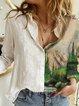 White Shirt Collar Cotton-Blend Casual Plants Shirts & Tops