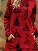 Red Casual Long Sleeve Dresses