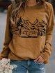 Camel Abstract Casual Long Sleeve Shift Shirts & Tops
