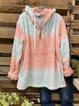 Faux Fur Zip Neck Side Pockets Tie Dye Drawstring Hoodie