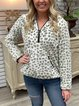 Leopard Pattern Faux Push Hoodie Front Pockets Pullover