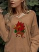 Christmas print casual simple sweater top