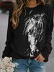 Black and white horsehead print woolen fit top