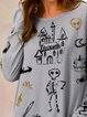 Happy Halloween print long sleeve knitted T-shirt