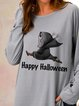 Happy Halloween Skull Print Casual Long Sleeve Top
