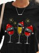 Christmas red wine glass Christmas hat printed woolen top