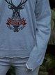 Irregular neckline Christmas fawn print sweater top