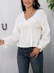 White Long Sleeve Casual Paneled Shirts & Tops