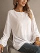 White Crew Neck Cotton Long Sleeve Shirts & Tops