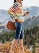 Multicolor Stripe Casual Long Sleeve Sweater