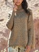 Gray Knitted Turtleneck Casual Sweater