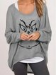 Funny printed knitted casual loose top