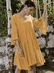 Yellow A-Line V Neck Plain 3/4 Sleeve Dresses
