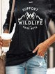 Vintage Long Sleeve Wild Life Landscape Printed Plus Size Statement Casual Tops