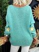 Aqua Blue Star V Neck Long Sleeve Sweater