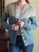 Blue & Gray Color-block Buttoned Long Sleeve Sweater