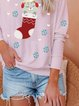 Casual Cute Printed Round Neck Casual Sweatshirt