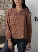 Yellow Cotton-Blend Long Sleeve Casual Paneled Shirts & Tops