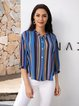 Blue Striped Casual V Neck Shirts & Tops