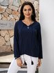Deep Blue Cotton-Blend Long Sleeve Paneled Boho Shirts & Tops