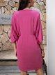 Pink Half Sleeve Casual Cotton-Blend Paneled Dresses