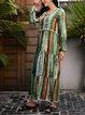 Green Long Sleeve Cotton-Blend Fringed V Neck Dresses