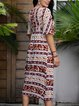 Red V Neck Cotton-Blend Paneled Casual Dresses