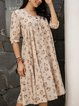 Apricot Cotton-Blend Floral Paneled Casual Dresses