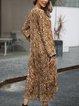 Coffee Long Sleeve Paneled Casual Dresses