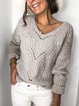 Gray Long Sleeve V Neck Sweater