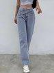 The new 2020 autumn women's clothing features irregular belt fashion high waist slim jeans casual straight leg pants