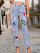Light Blue Letter Shift Cotton-Blend Casual Pants