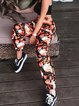 2020 autumn new European and American women's fashion printed casual high-waisted rope nine-point beam pants