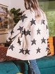 Apricot Casual Geometric Knitted Sweater Stars Cardigan
