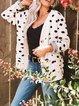 White Polka Dots Long Sleeve Sweater Cardigan