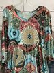 Vintage Multicolor Plus Size Long Sleeve V Neck Statement Geometric Printed Casual Tops