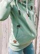 Green Casual Long Sleeve Cotton-Blend Sweatshirt