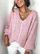 Pink Long Sleeve V Neck Sweater