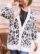 Leopard V Neck Long Sleeve  Cardigan Outerwear